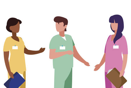 interracial group medicine workers with uniform characters vector illustration design Stok Fotoğraf - 122664209