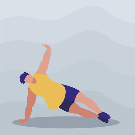athletic man practicing exercises vector illustration design