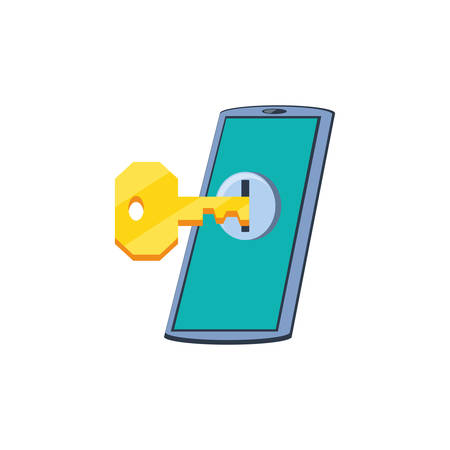 smartphone device with key secure vector illustration design