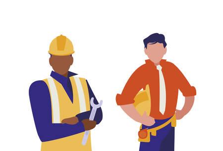 couple of men builders working vector illustration design Vetores