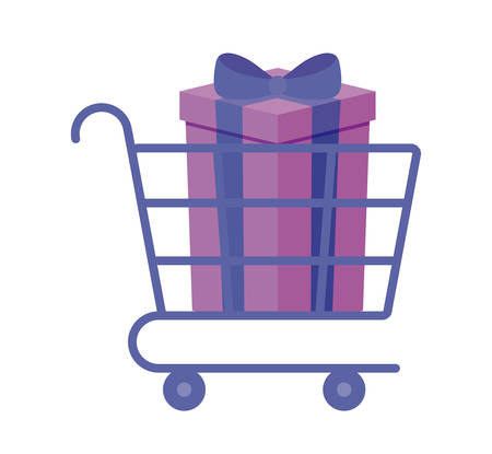 shopping cart with gift box vector illustration design