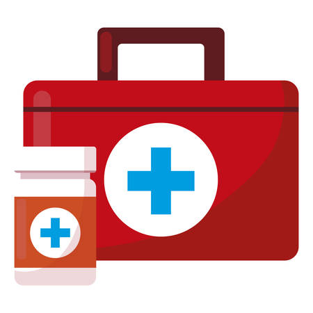 medical kit with medicine icons vector illustration design Illustration