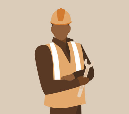 industrial worker black avatar character vector illustration design