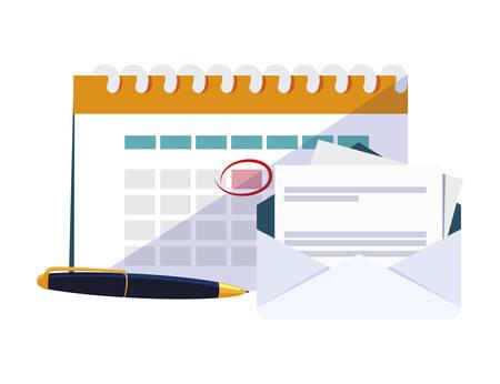 calendar reminder with envelope and pen vector illustration design Ilustração
