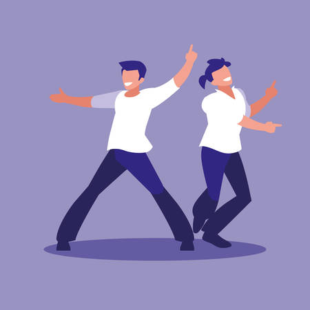 men dancing avatar character vector illustration design