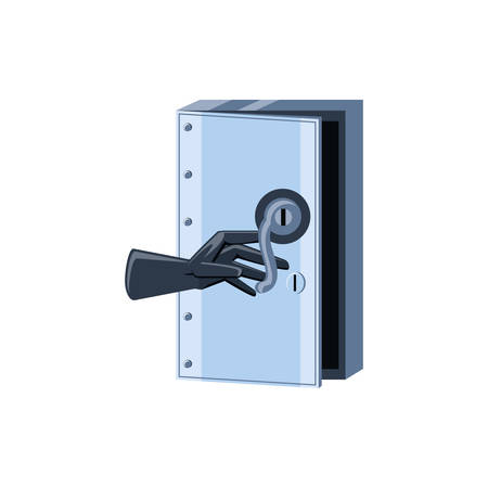 safe box security with glove isolated icon vector illustration design Ilustrace