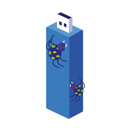 usb memory with bug atack vector illustration design