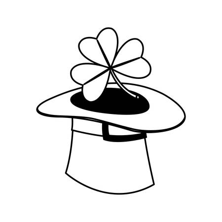 lemprechaun tophat with clovers leafs vector illustration design