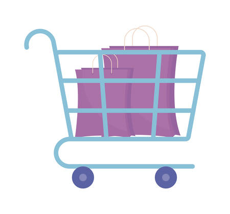 cart with bag shopping isolated icon vector illustration design