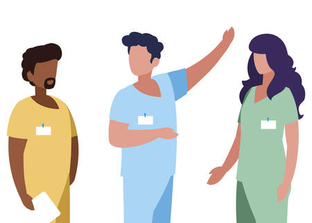 interracial group medicine workers with uniform characters vector illustration design Illustration