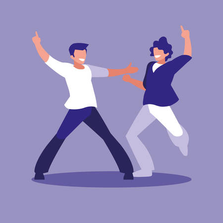 men dancing avatar character vector illustration design Illustration