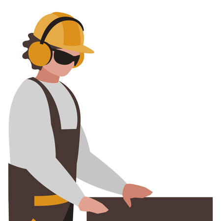 industrial worker with tools avatar character vector illustration design Illustration