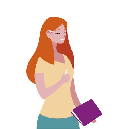 female teacher avatar character vector illustration design
