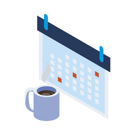 calendar reminder with coffee cup vector illustration design