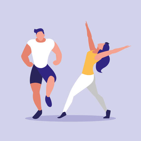 young couple fitness dancing vector illustration design