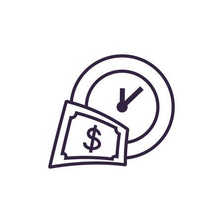clock time with bill dollar vector illustration design