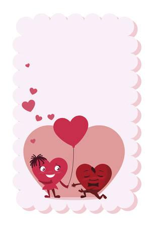 postcard with couple hearts kawaii characters vector illustration design Imagens - 122664865