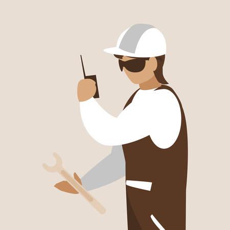 industrial worker avatar character vector illustration design
