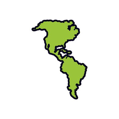 american continent maps silhouette vector illustration design