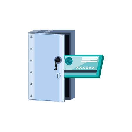 safe box security with credit card isolated icon vector illustration design