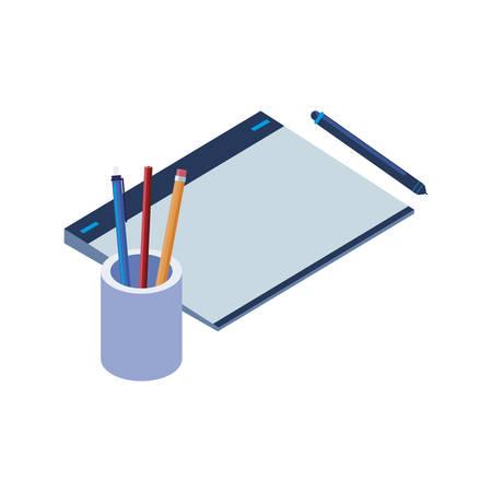 graphic design board and pencils holders vector illustration design