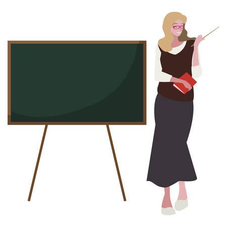 female teacher with textbook and chalkboard vector illustration design 向量圖像