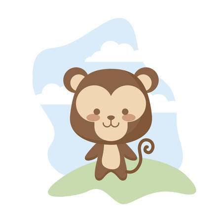 cute monkey animal in landscape vector illustration design