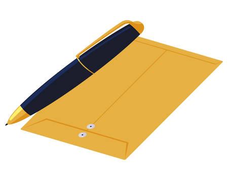 manila envelope with pen vector illustration design 向量圖像