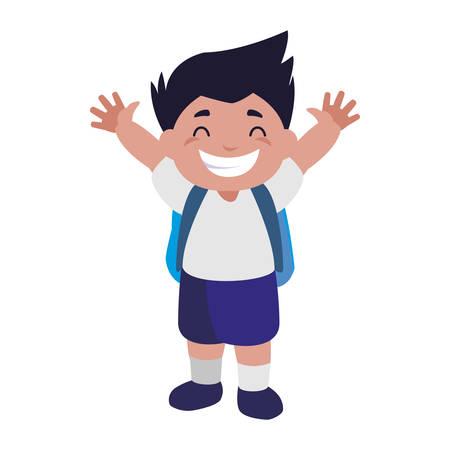happy little schoolboy with schoolbag character vector illustration design