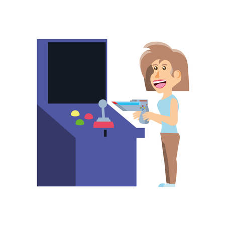 girl playing in retro console video game machine vector illustration design Ilustracja