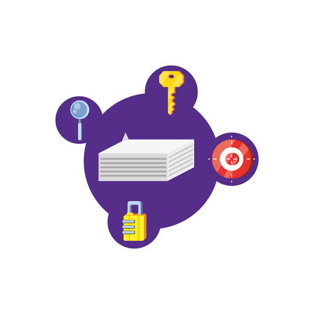 papers documents with security icons vector illustration design