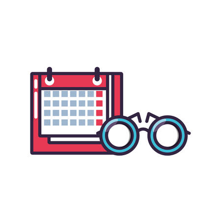 calendar reminder with eyeglasses icon vector illustration design Ilustrace
