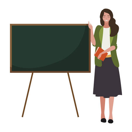 female teacher with textbook and chalkboard vector illustration design