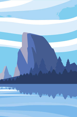 mountains with forest and lake snowscape scene vector illustration design 向量圖像