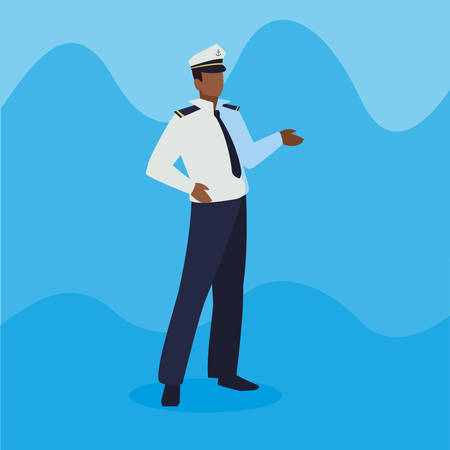 sailor captain marine character vector illustration design