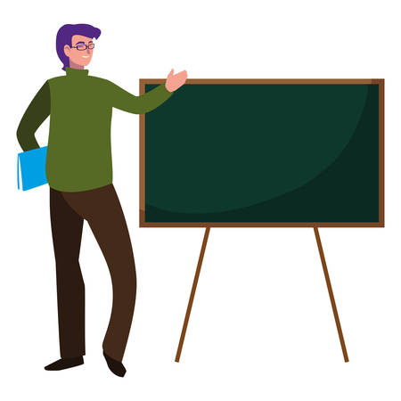 teacher male with documents and chalkboard vector illustration design