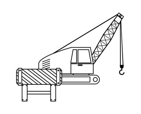 under construction crane truck with signaling vector illustration design
