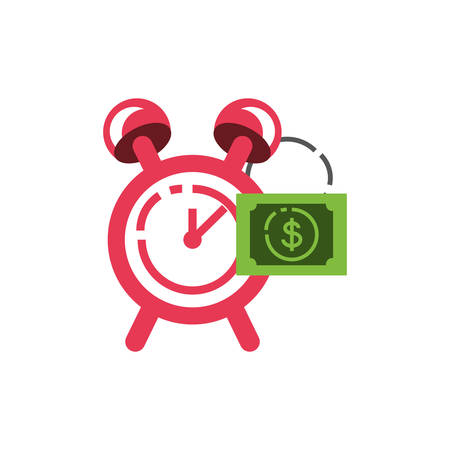 alarm clock with bill dollar vector illustration design Illustration