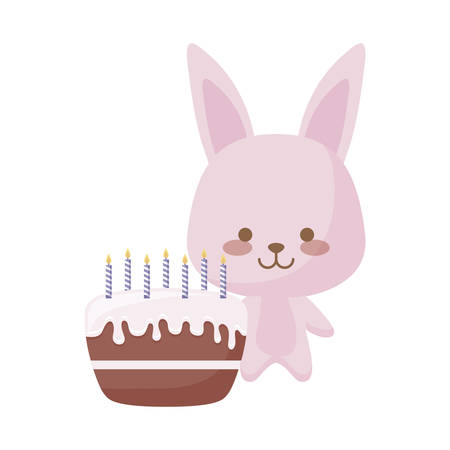 cute rabbit animal with cake birthday vector illustration design