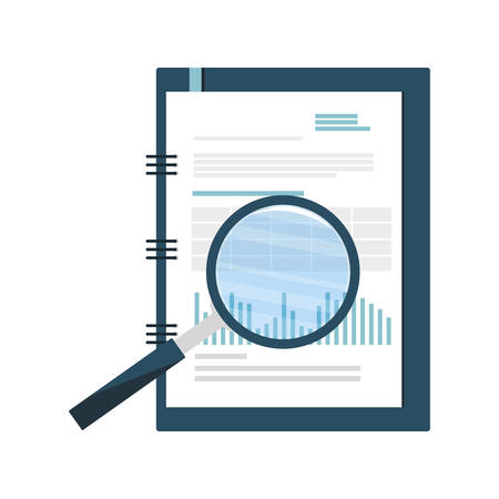 office notepad with magnifying glass vector illustration design
