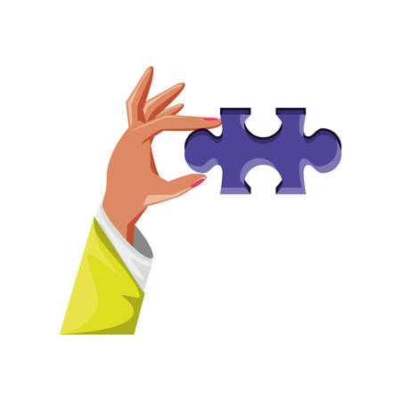 hand with puzzle piece isolated icon vector illustration design