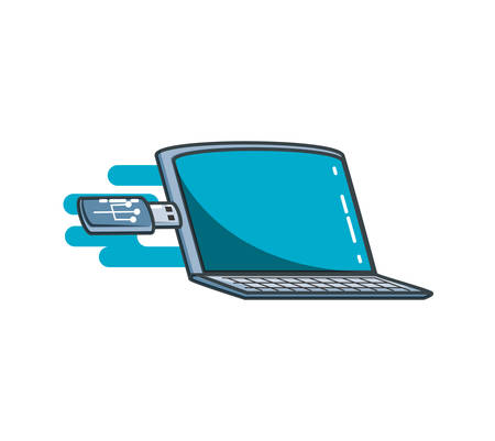 laptop computer with usb isolated icon vector illustration design Ilustrace