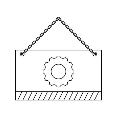 signaling hanging with gear isolated icon vector illustration design Illustration