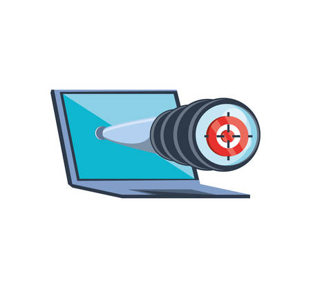 laptop with telescope icon vector illustration design Ilustração