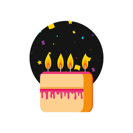slice sweet cake of birthday with candles vector illustration design