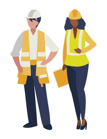 coppia di costruttori che lavorano illustrazione vettoriale design Vettoriali