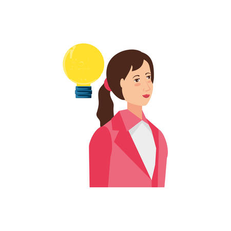 business woman with light bulb vector illustration design