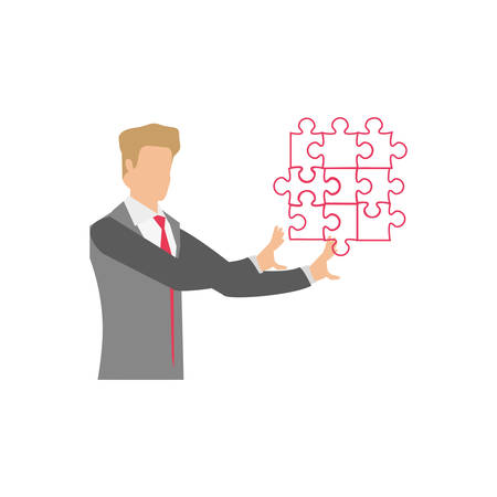 businessman with puzzle pieces isolated icon vector illustration design Ilustrace