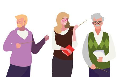 teachers group avatars characters vector illustration design