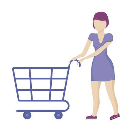 woman with shopping cart isolated icon vector illustration design Ilustração